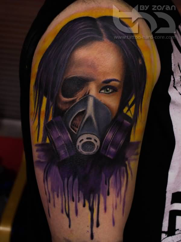 Half Skull Half Girl Face With Gas Mask Tattoo On Shoulder By Zoran