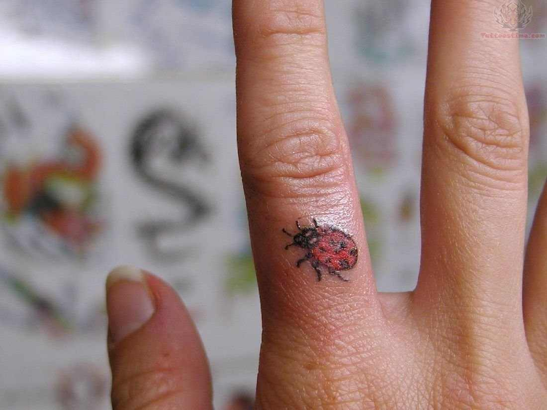 41 beautiful ladybug tattoos ideas for Finger tattoos for girls