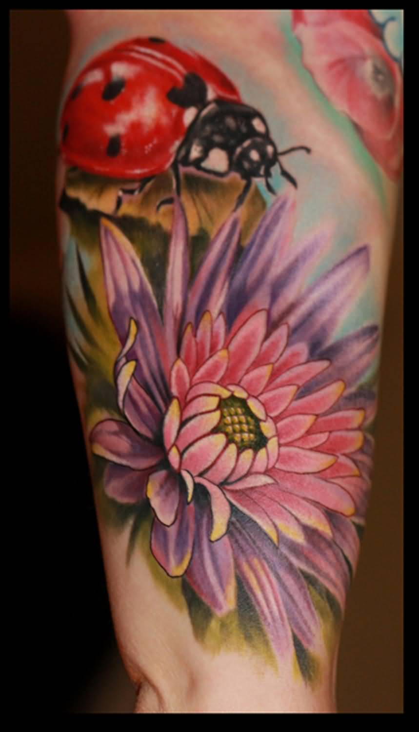 43 incredible ladybug and flower tattoos