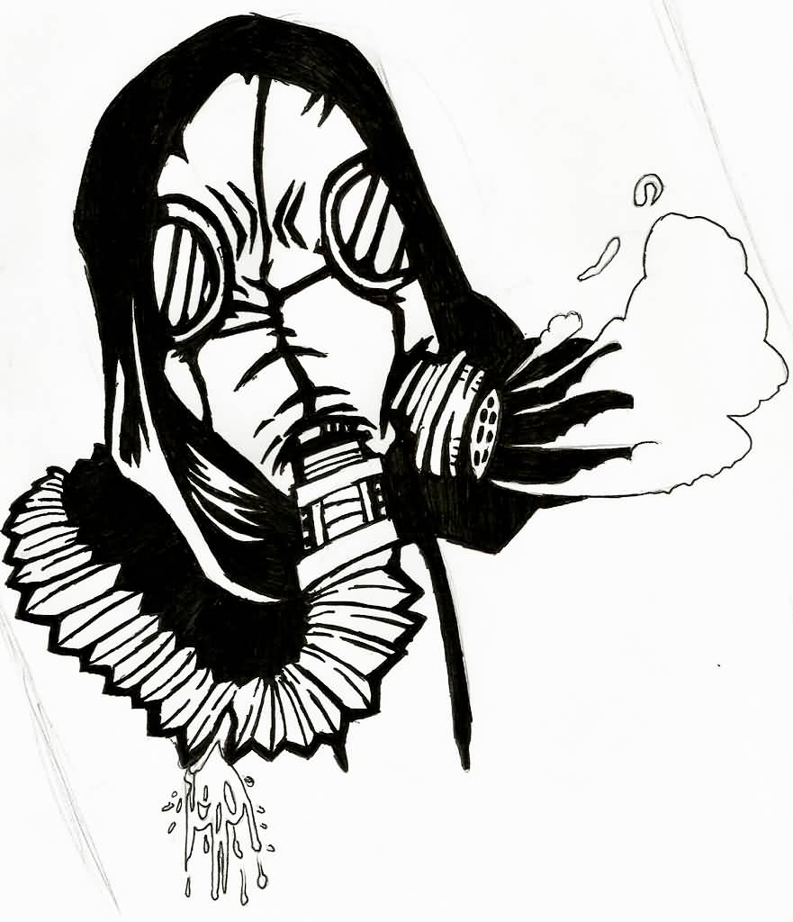 Outline Gas Mask Tatto...