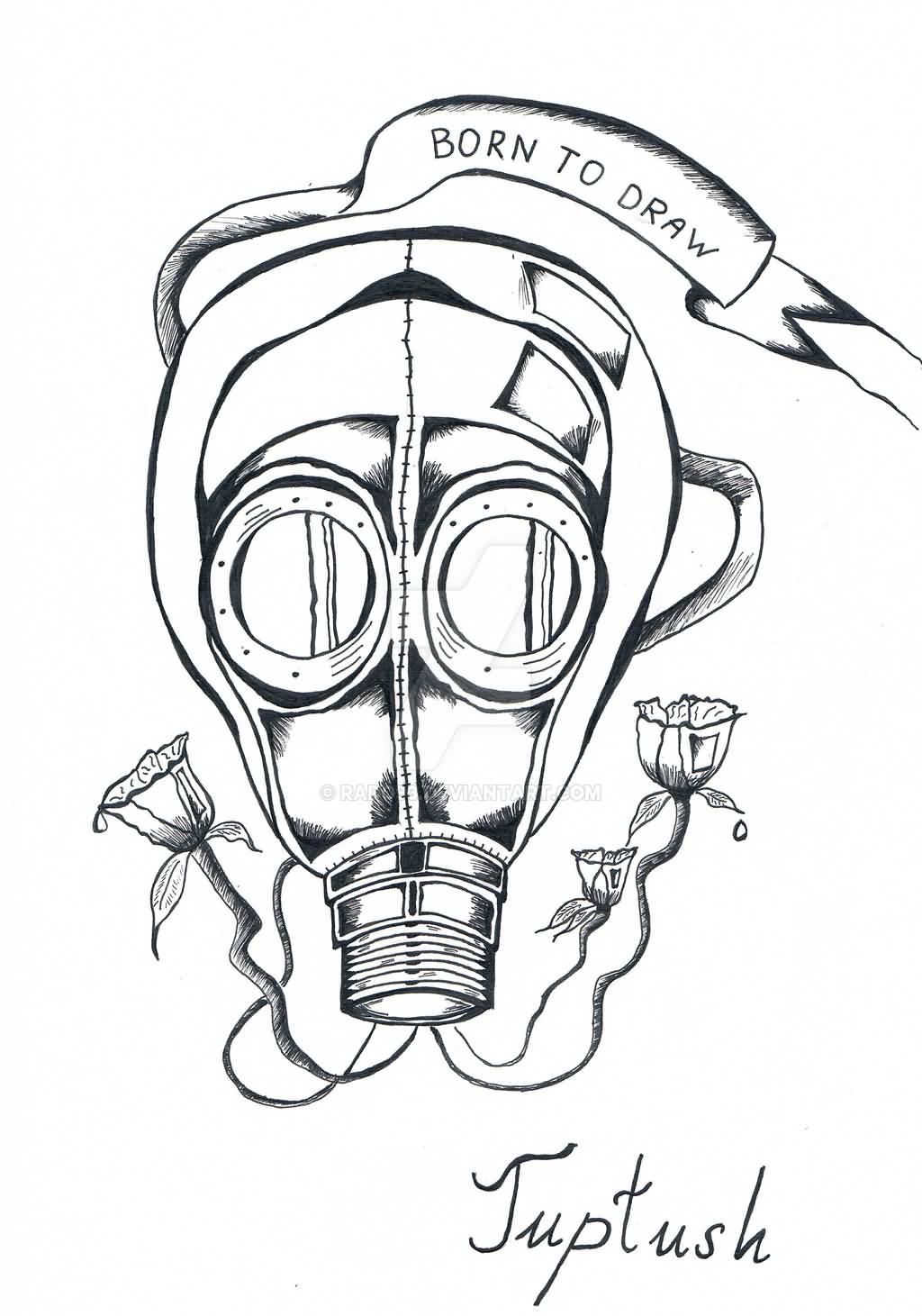 Outline Gas Mask Tattoo Design By Rado93