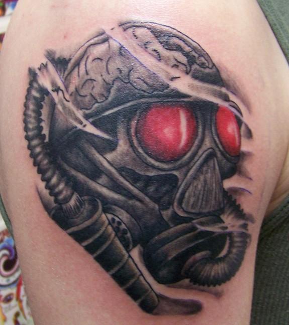 Red Eyes Gas Mask Tattoo By Brian Desourdy