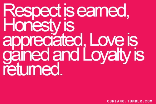 Respect Is Earned Honesty Is Appreciated Trust Is Gained Loyalty