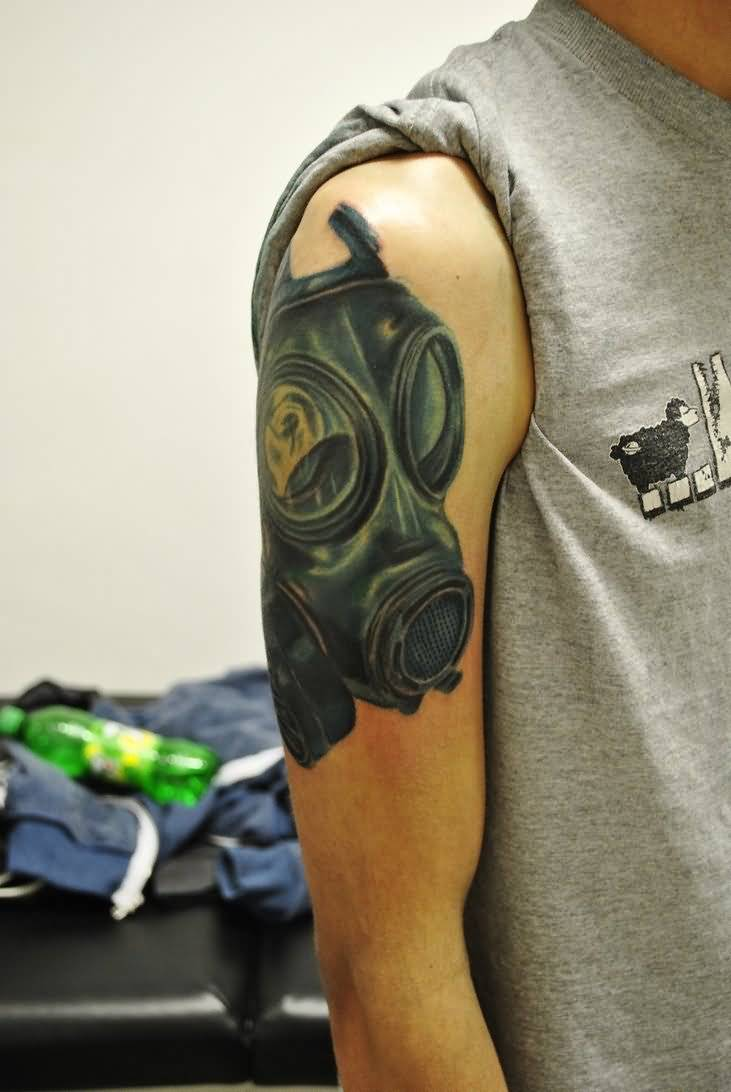 44 best gas mask tattoos collection - Right Bicep Gas Mask Tattoo For Men