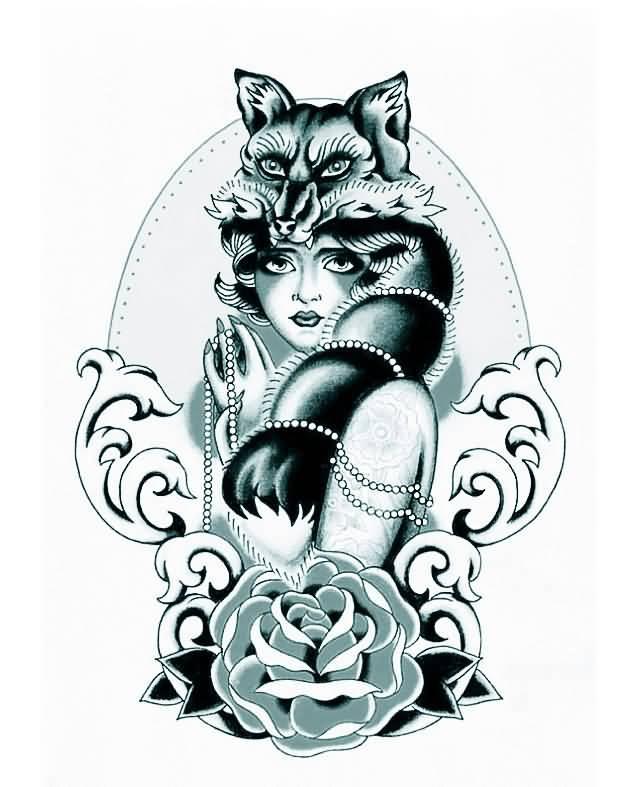 9 Nice Fox Girl Tattoo Designs