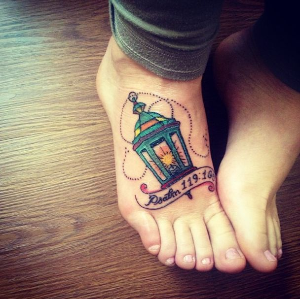 Perfect Banners And Lamp Tattoo On Right Foot