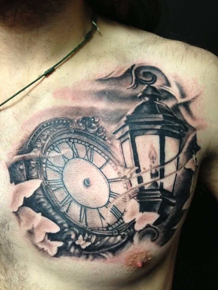 02e57e231 Grey Ink Pocket Watch And Lamp Tattoo On Man Chest