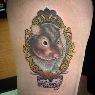 pirate hamster tattoo on arm. Black Bedroom Furniture Sets. Home Design Ideas