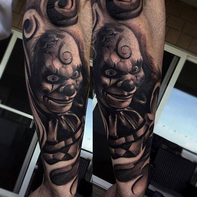 Realistic Joker Tattoo On Arm Sleeve by Garage Ink