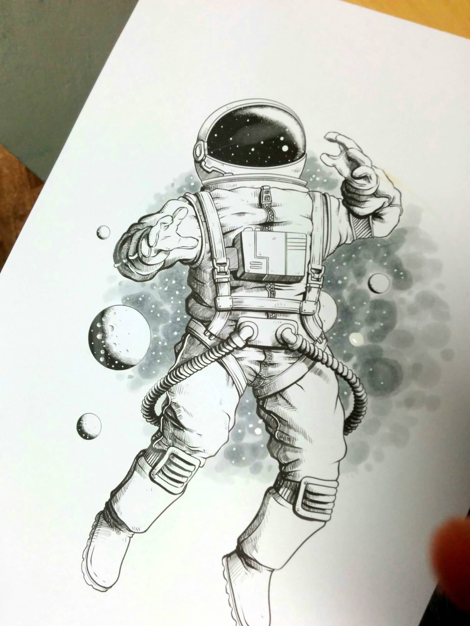 flying astronaut tattoo on left shoulder. Black Bedroom Furniture Sets. Home Design Ideas