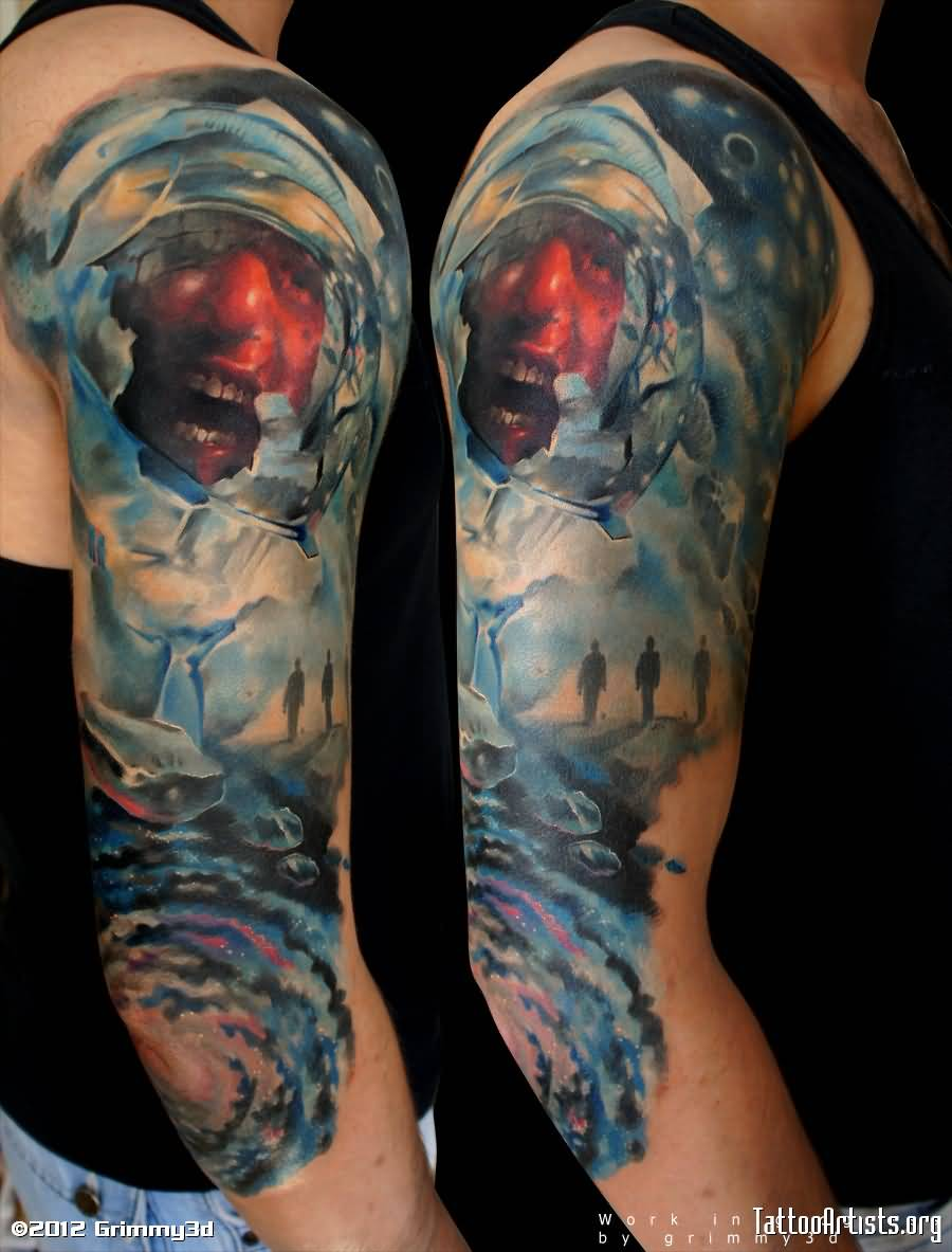 colored astronaut tattoo on man right half sleeve. Black Bedroom Furniture Sets. Home Design Ideas
