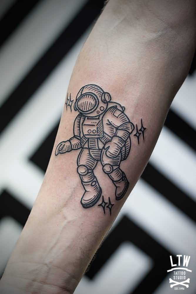geometric astronaut tattoo on right forearm. Black Bedroom Furniture Sets. Home Design Ideas