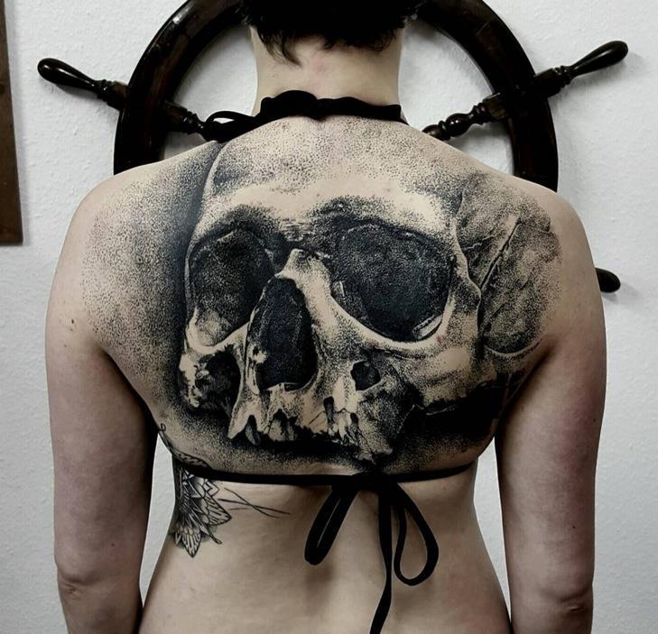 Geometric Skull Tattoo On Girl Upper Back By Luke Sayer