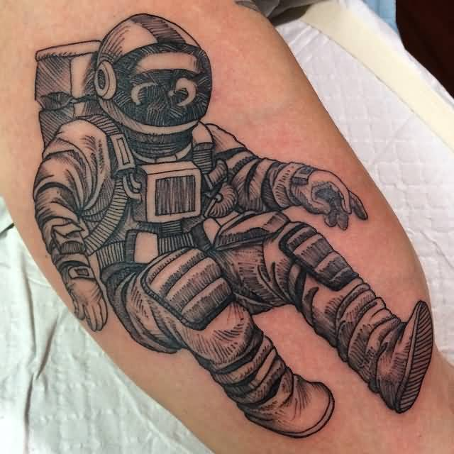 57 wonderful astronaut tattoos. Black Bedroom Furniture Sets. Home Design Ideas