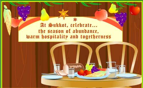 Happy sukkot 2017 greeting card at sukkot celebrate the season of abundance warm hospitality and togetherness m4hsunfo