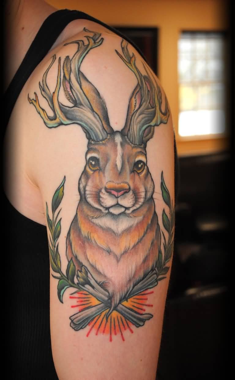 awesome jackalope tattoo on left half sleeve