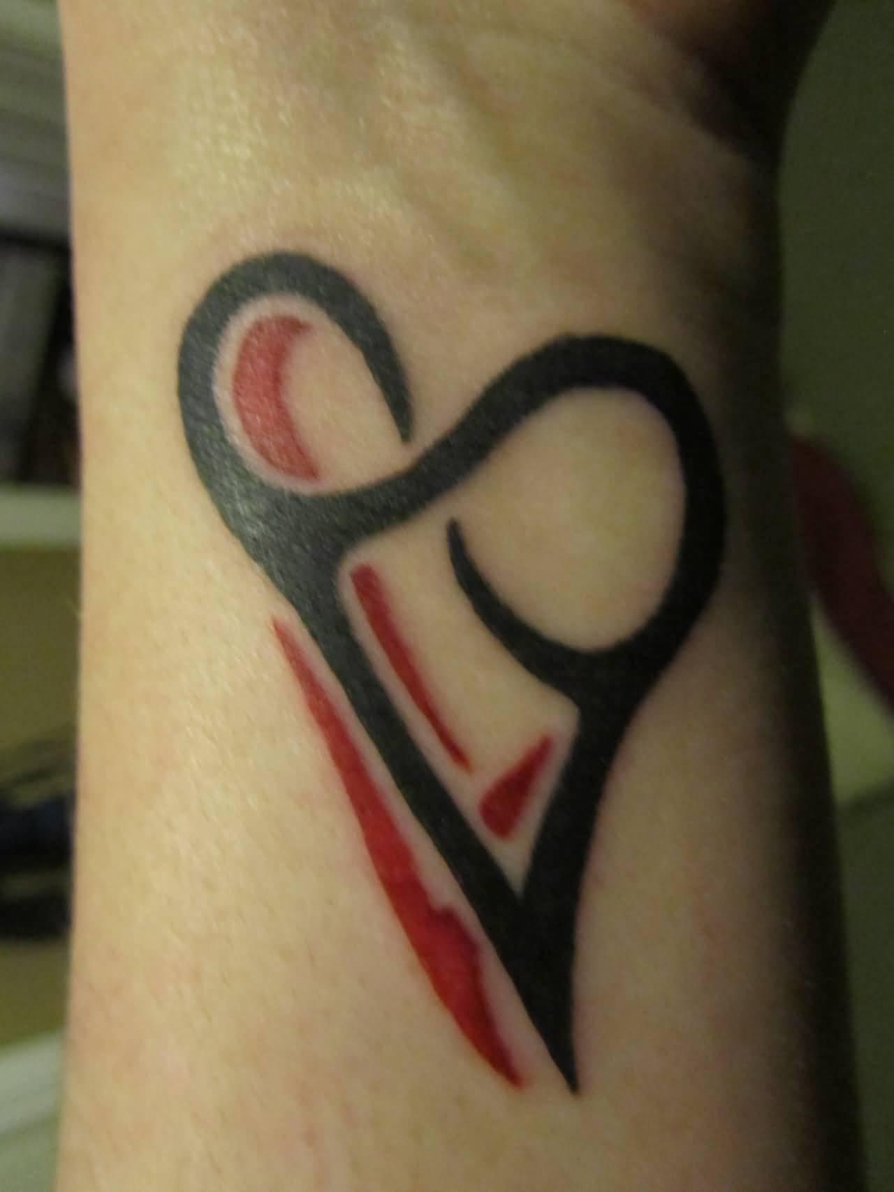 Black Tribal Heart Infinity Tattoo On Wrist