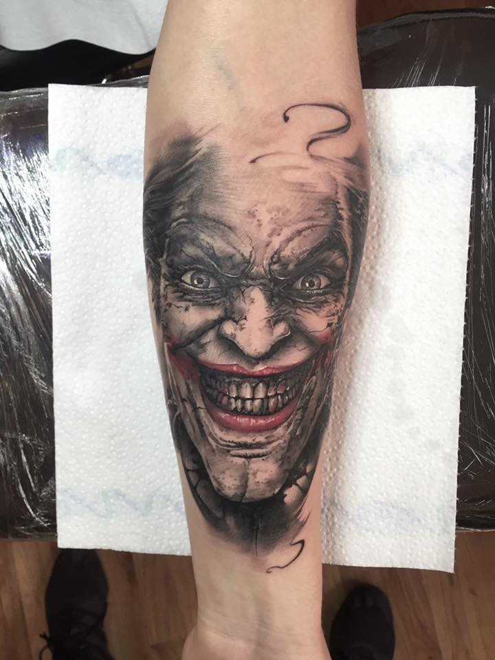 Clown Face Tattoo On Left Forearm by Razvan