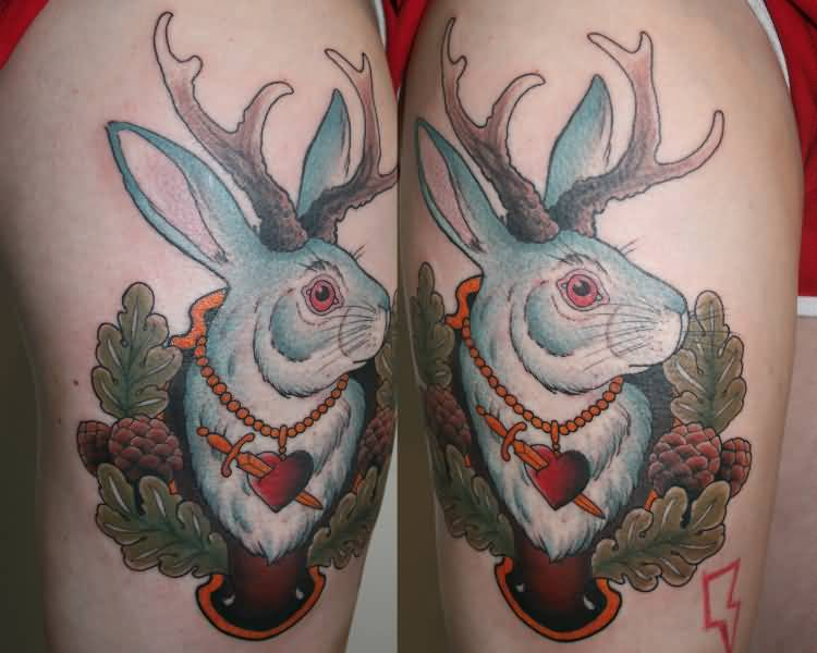 8d590ae79 Color Ink Jackalope Tattoo On Thigh