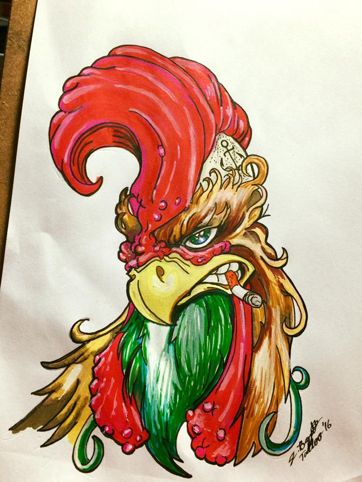 Colored Rooster Tattoo On Chest For Men