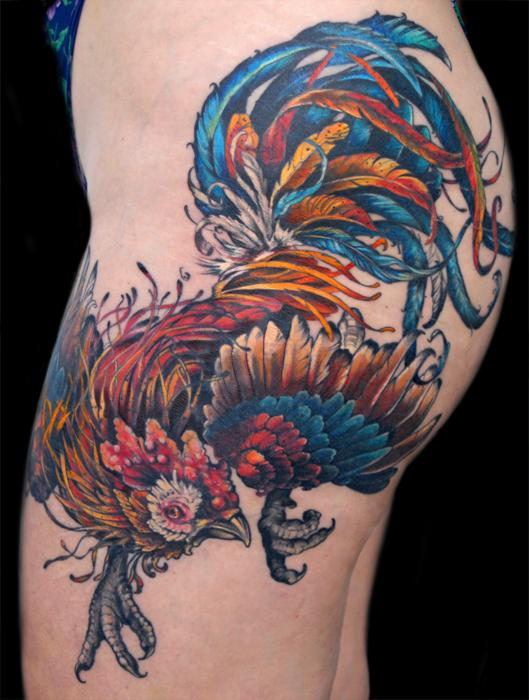 45 cool rooster tattoos rh askideas com fighting rooster tattoo pics fight rooster tattoo