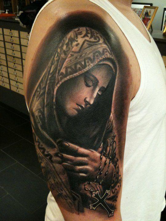 18+ Nice Virgin Mary Tattoos On Half Sleeve