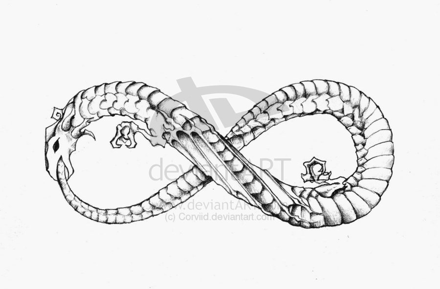 dragon infinity ouroboros tattoo design by corviid. Black Bedroom Furniture Sets. Home Design Ideas