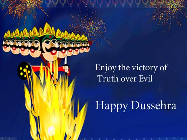 Enjoy the victory of truth over evil happy dussehra greeting card m4hsunfo