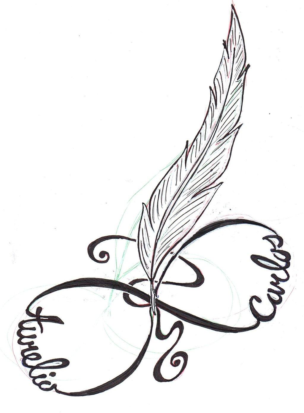 Love yourself infinity tattoo on hip feather infinity tattoo design by slk grafix buycottarizona