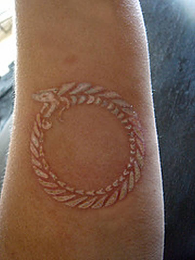 11 nice ouroboros forearm tattoos for Snake eating itself tattoo