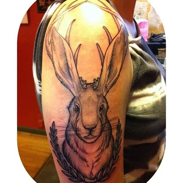 1f1ba80d7 Girl Right Half Sleeve Jackalope Tattoo