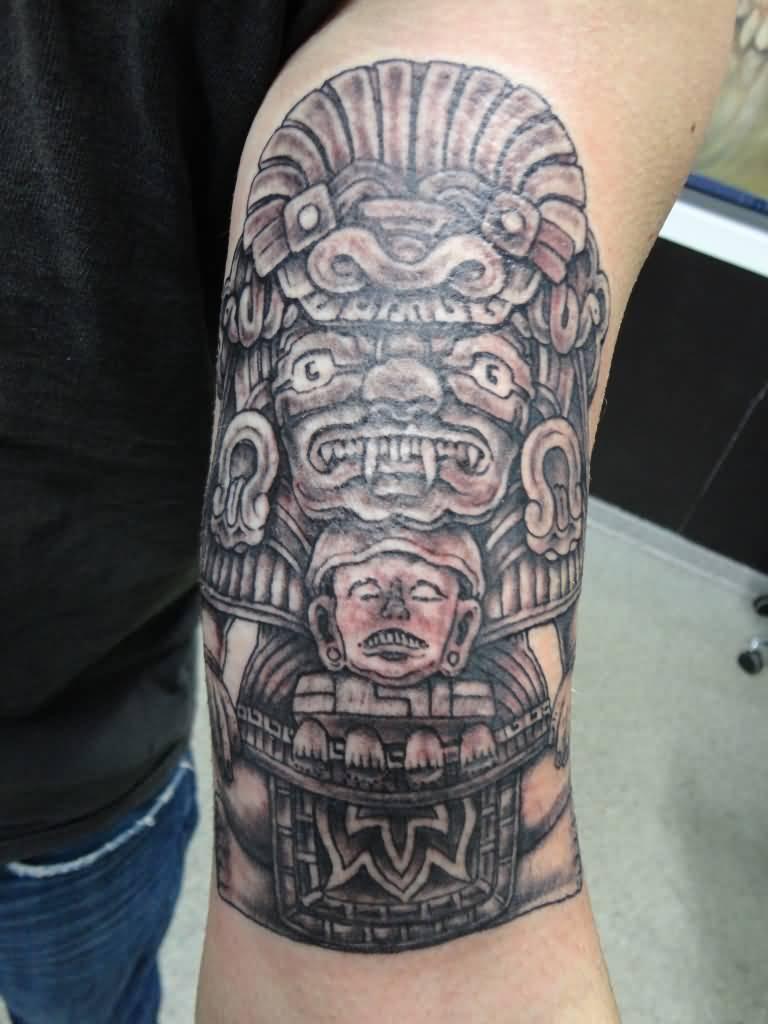 realistic grey mayan tattoo on left shoulder. Black Bedroom Furniture Sets. Home Design Ideas