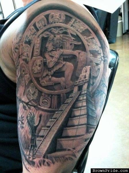 grey ink mayan tattoo on left half sleeve by alan padilla. Black Bedroom Furniture Sets. Home Design Ideas