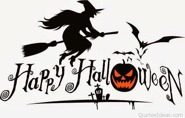 Happy Halloween Witch On Broom Stick