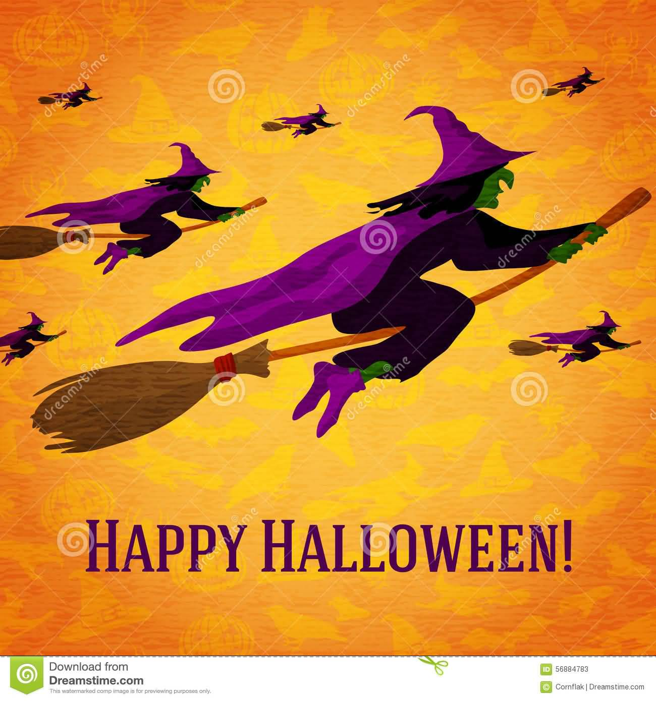 Happy Halloween Witches On Broom Greeting Card