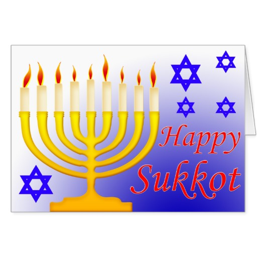 Happy sukkot candle stand on greeting card m4hsunfo