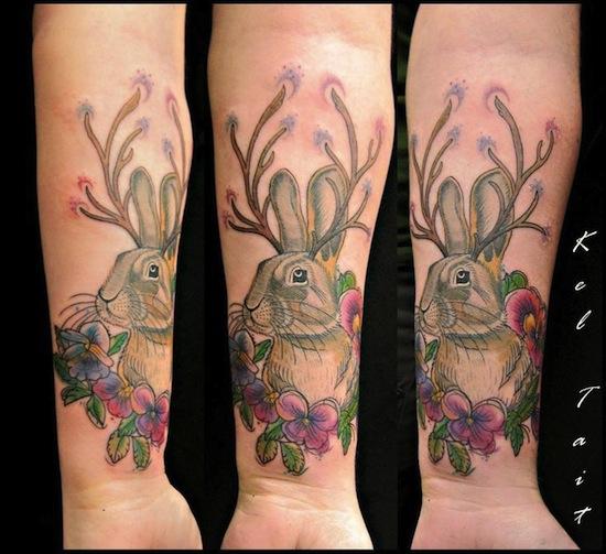 jackalope tattoo on forearm by kel tait