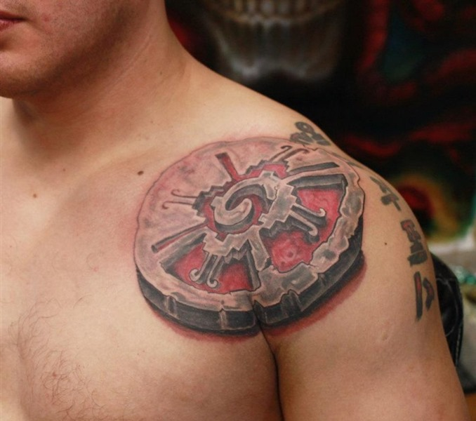 12 mayan shoulder tattoos for 3d stone tattoo design