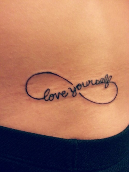 love yourself infinity tattoo on hip. Black Bedroom Furniture Sets. Home Design Ideas