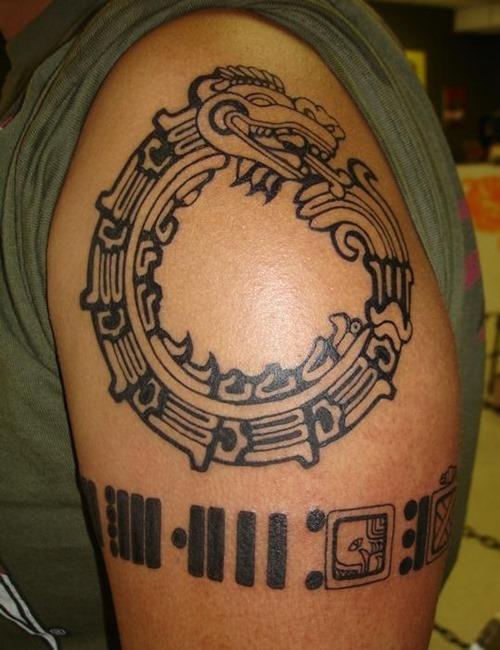 Mayan Ouroboros Tattoo On Left Shoulder