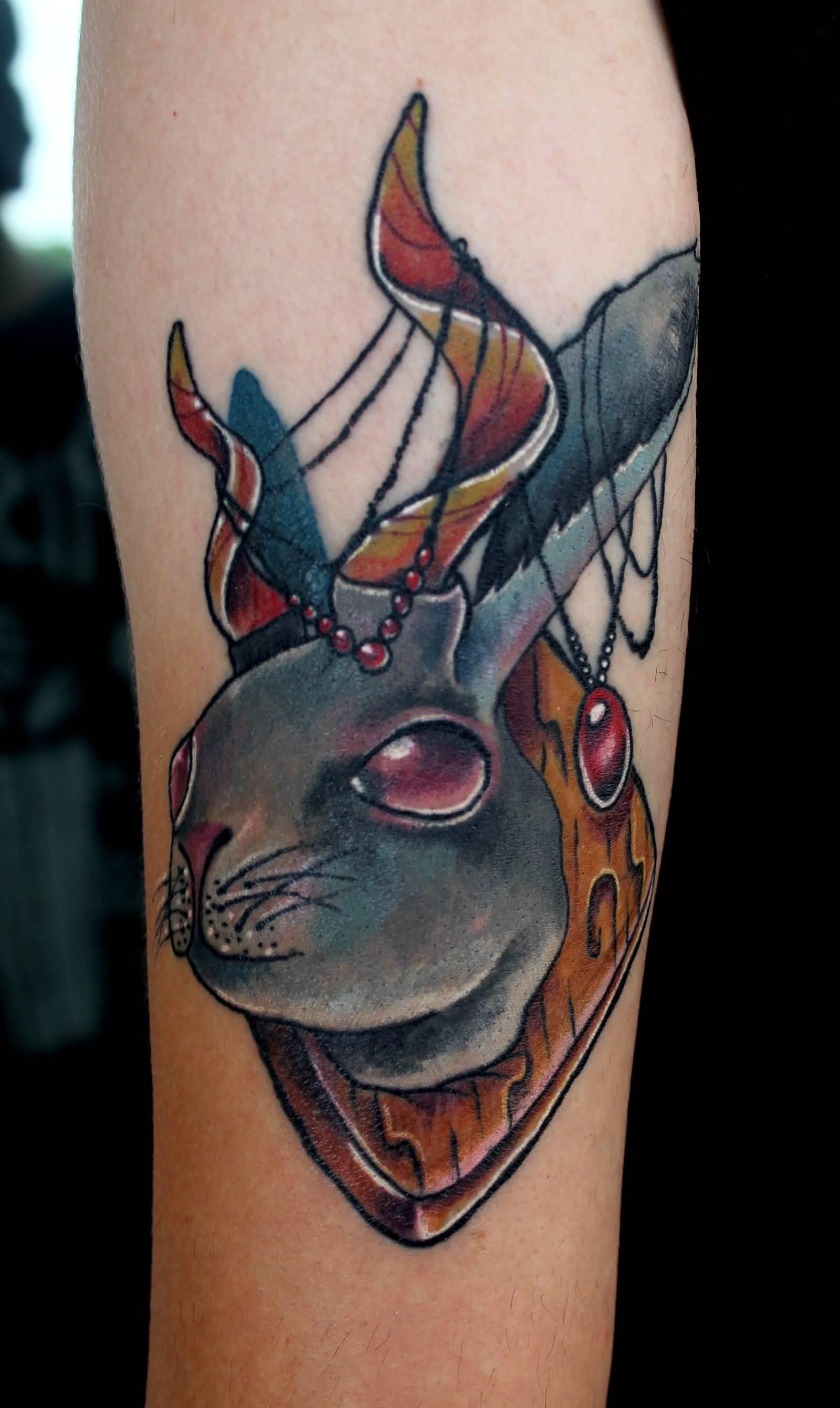 68af3ef7a Nice Color Ink Jackalope Tattoo On Arm Sleeve
