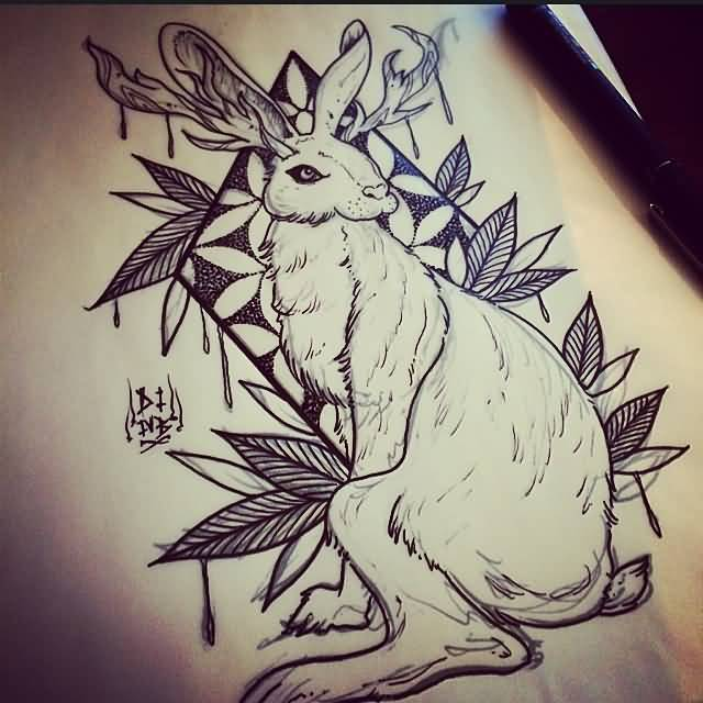 23 jackalope tattoo designs. Black Bedroom Furniture Sets. Home Design Ideas