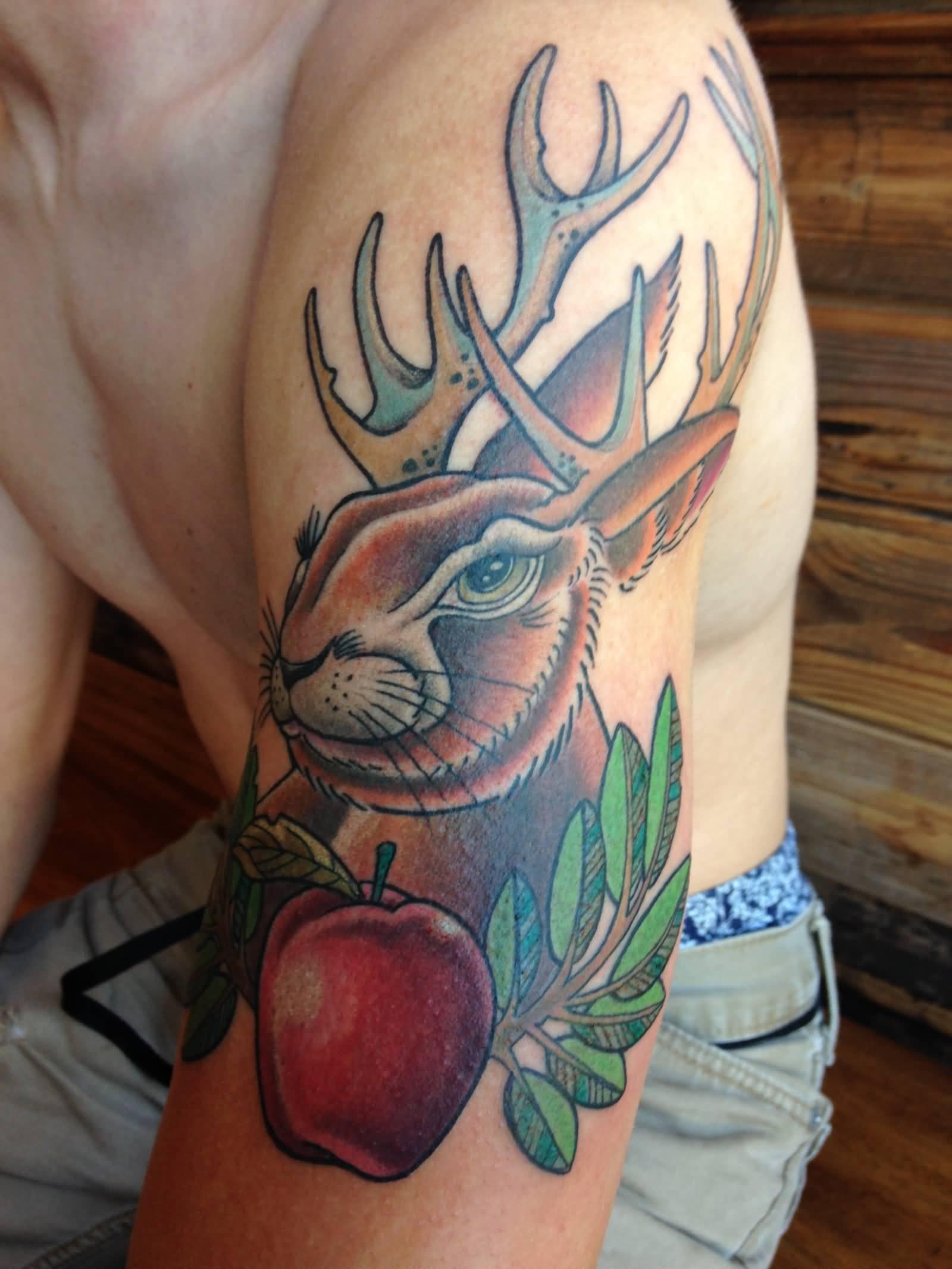 72dd66b64 Red Apple And Jackalope Tattoo On Left Half Sleeve