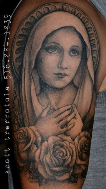 18 nice virgin mary tattoos on half sleeve. Black Bedroom Furniture Sets. Home Design Ideas