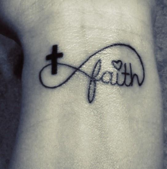 Watercolor paw print infinity tattoo on wrist for Faith cross tattoos