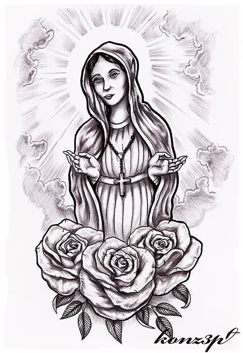13 virgin mary tattoo designs. Black Bedroom Furniture Sets. Home Design Ideas