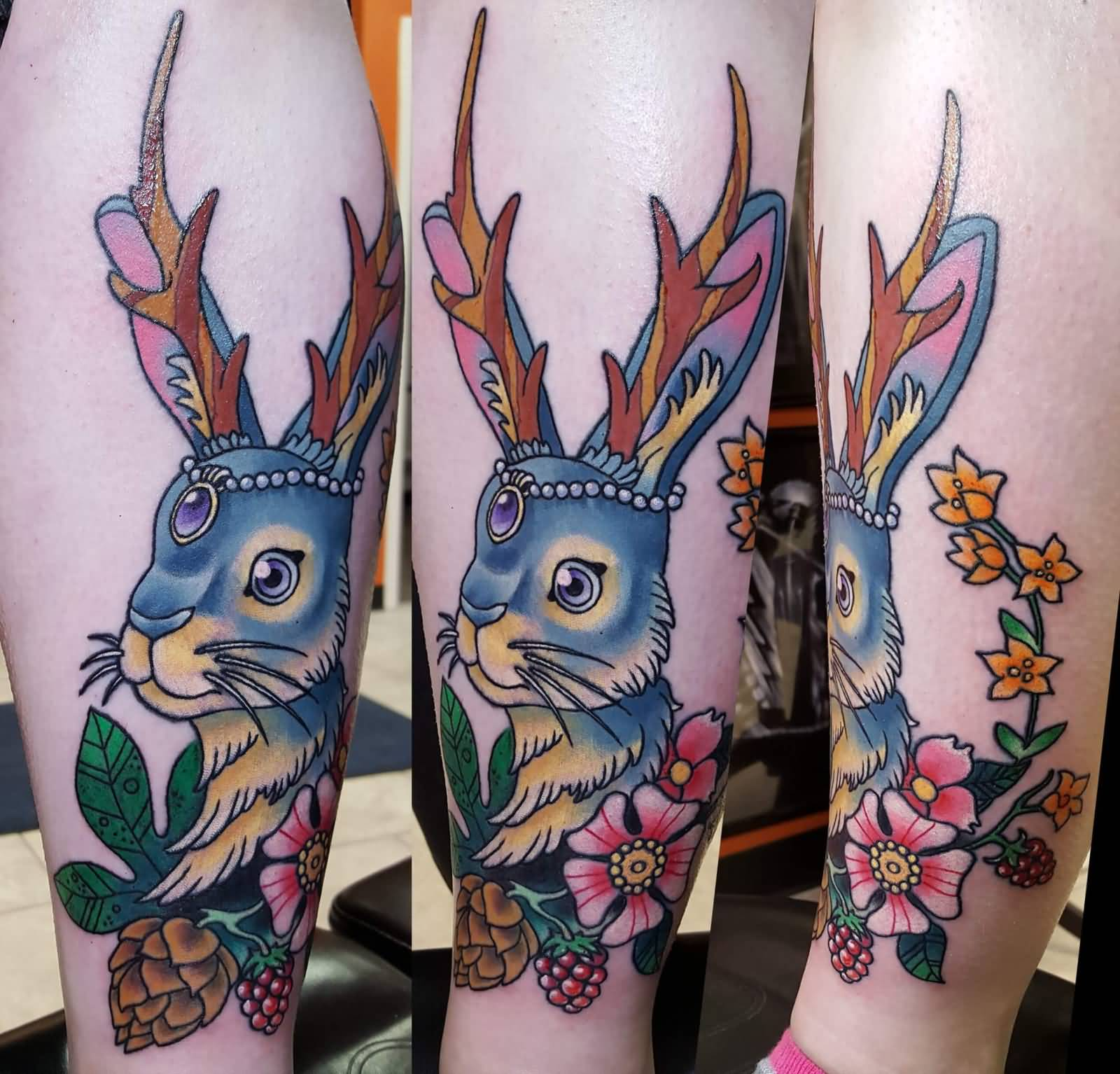 f59896302 Traditional Flowers And Jackalope Tattoo On Arm
