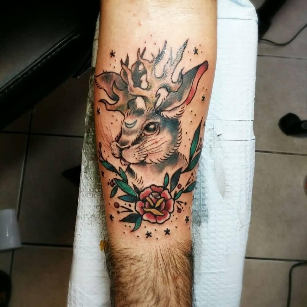 34e6ff81c Traditional Rose And Jackalope Rabbit Tattoo