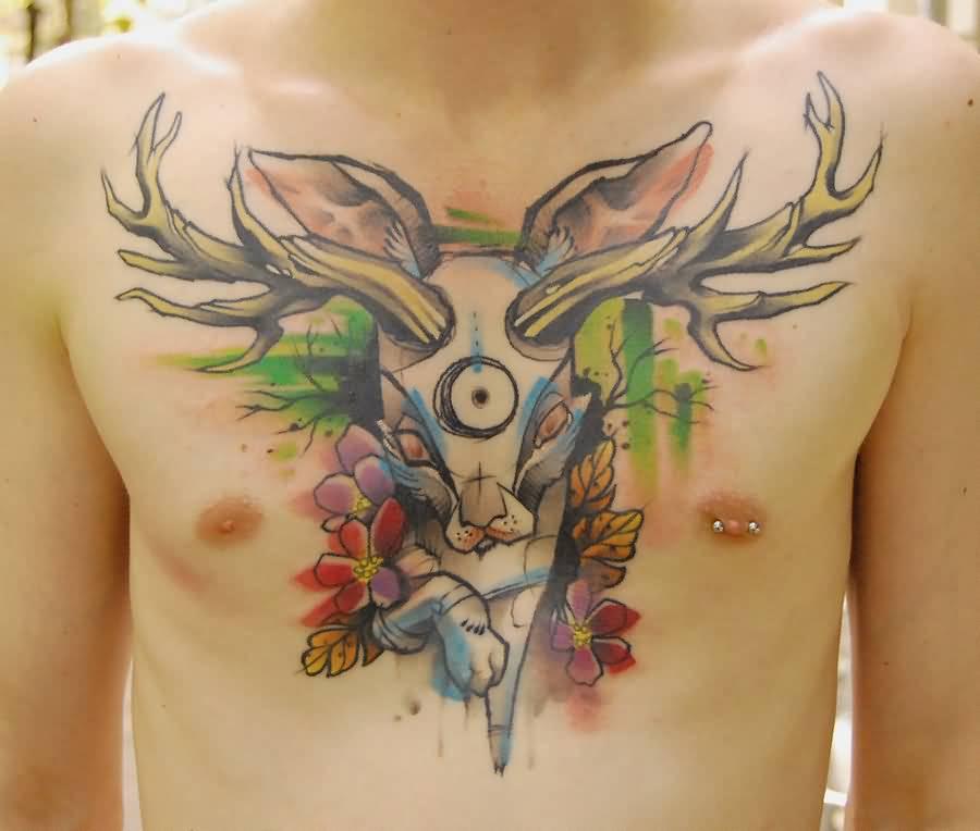 98210db4b Watercolor Jackalope Tattoo On Man Chest