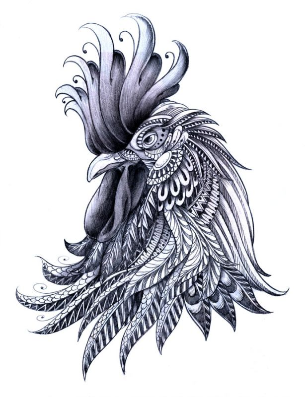 White And Grey Rooster Head Tattoo Design